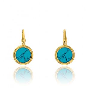 Boucles d'oreilles pendantes rondes, Argent doré et turquoise - Rosatella