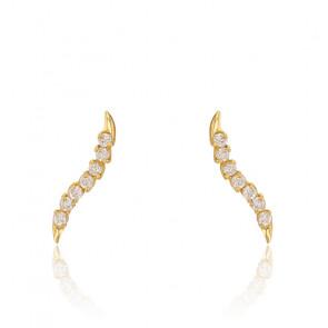 Boucles d'oreilles ondulées, Or jaune 9K et zyrcons - Rosatella