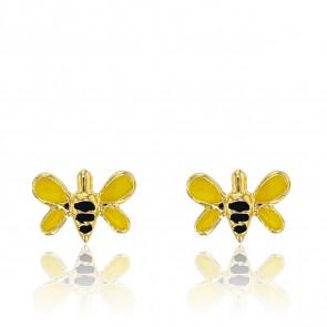 Boucles d'oreilles Abeille, Or jaune 9K et Email - Bambins
