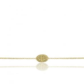 Bracelet Médaille Ovale Croix & Argent Doré 925/1000 - Rosatella