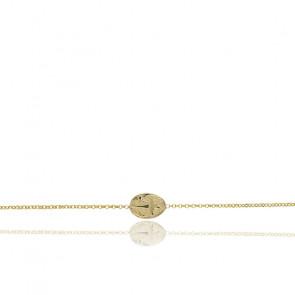 Bracelet Médaille Ovale Croix Lumière & Argent Doré 925/1000 - Rosatella