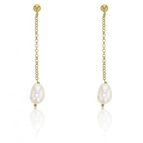 Boucles d'oreilles Pendantes Perles et Argent Doré 925 - Rosatella