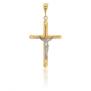 Pendentif Croix du Christ, 2 Ors 18 carats - Emanessence
