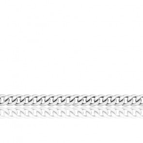 Chaîne maille gourmette, Or blanc 9 carats, 40 cm