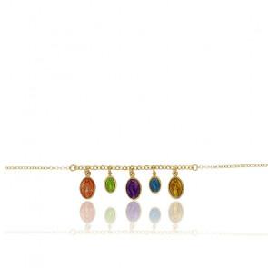 Bracelet Madone, Argent Doré 925 et Email - Rosatella