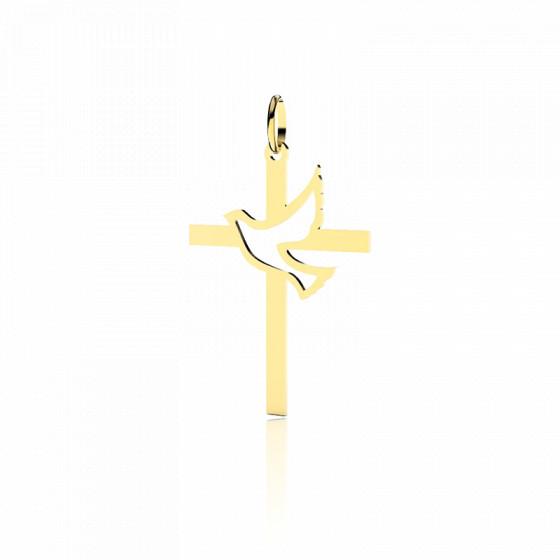 Croix Colombe Ajourée 20 mm, Or jaune 9 ou 18 carats - Lucas Lucor