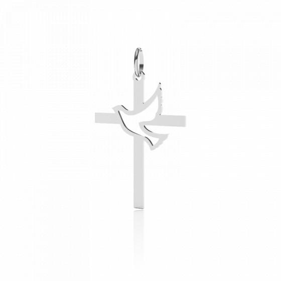 Croix Colombe Ajourée 20 mm, Or blanc 9 ou 18 carats - Lucas Lucor