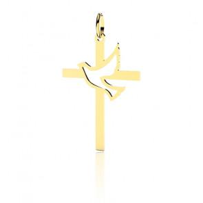 Croix Colombe Ajourée 30 mm, Or jaune 9 ou 18 carats - Lucas Lucor