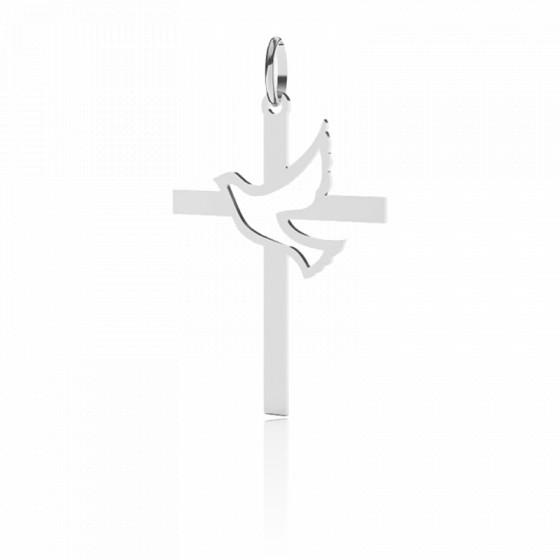 Croix Colombe Ajourée 30 mm, Or blanc 9 ou 18 carats - Lucas Lucor