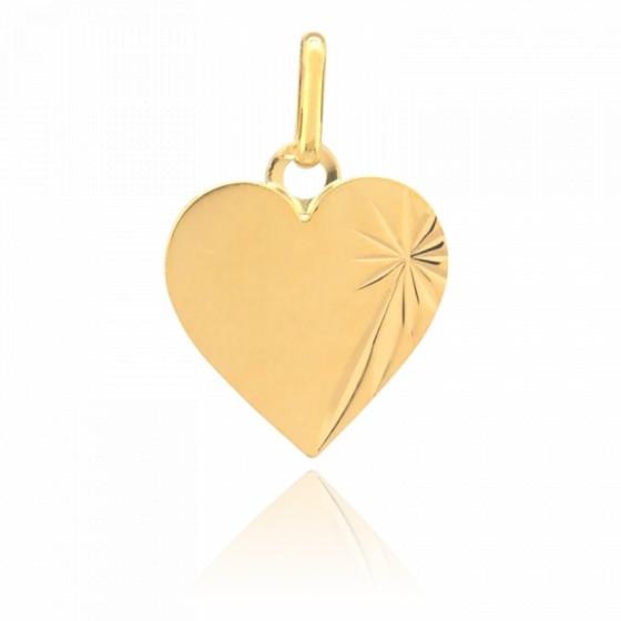 Pendentif Coeur Ensoleillé, Or jaune 9 ou 18 carats - Lucas Lucor