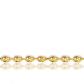Bracelet Grain de Café Creux, Or Jaune 18K, 21 cm - Manillon