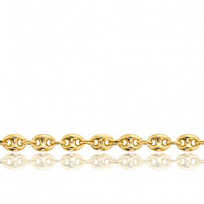 Bracelet Grain de Café Massif, Or Jaune 18K, 16 cm - Manillon