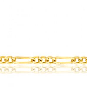 Bracelet Maille Cheval Alternée Triple, Or Jaune 18K, 15 cm - Manillon