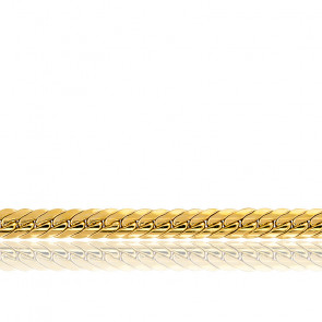 Bracelet Maille Anglaise Creuse, Or Jaune 18K, 17 cm - Manillon
