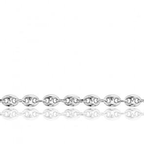 Bracelet Grain de Café Creux, Or Blanc 18K, 18 cm - Manillon
