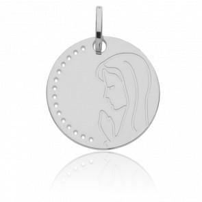 Médaille Vierge en prière, Or Blanc 9K - Vandona