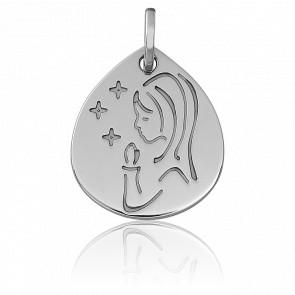 Médaille Ovale Vierge Bougies, Or blanc 18K - Vandona