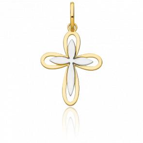 Pendentif double croix florale, 2 Ors 18k - Vandona