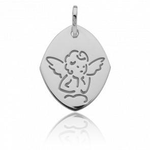 Médaille Losange Ange sur un nuage, Or blanc 18K - Vandona