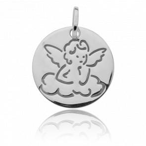 Médaille Ange sur nuage, Or blanc 18K - Vandona