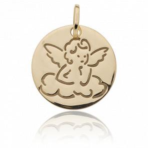 Médaille Ange sur nuage, Or jaune 18K - Vandona