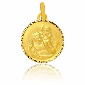 Médaille Ronde Saint Christophe diamantée, Or jaune 18K - Vandona