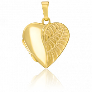Pendentif photo cœur ange, Or jaune 9K - Emanessence