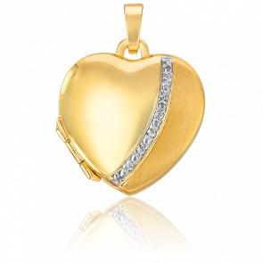 Pendentif photo cœur mat brillant, Or jaune 9K - Emanessence