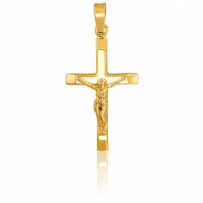 Croix Crucifix & bords aplatis, Or jaune 9K - Vandona
