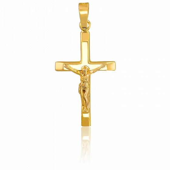 Croix Crucifix & bords aplatis, Or jaune 18K - Vandona