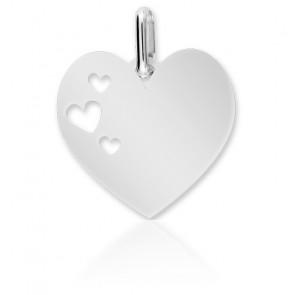 Médaille Ajourée Coeur, Or Blanc 18K - Lucas Lucor