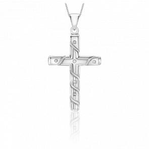 Pendentif Croix striée, Or blanc 9K & Diamants - Emanessence