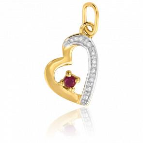 Pendentif coeur étiré rubis, Or jaune 9 ou 18K - Emanessence