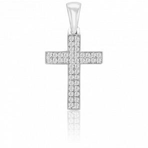 Pendentif Croix pavée, Or Blanc 18K & Diamants - Juweel