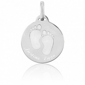 Médaille personnalisée petits pieds, Argent - Bambins