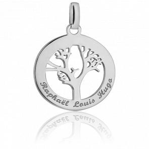 Médaille Arbre de vie personnalisée, Argent - Bambins