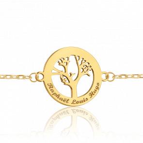 Bracelet Forçat marine, Arbre de vie ajouré gravable, Or jaune - Bambins