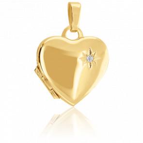 Pendentif coeur porte-photos diamant, Or Jaune 9k - Emanessence