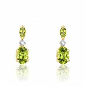 Boucles d'oreilles Péridot, Diamants & Or Jaune - Aurora