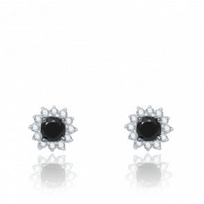 Puces d'Oreilles Diamants Blanc & Noir, Or Blanc - Aurora