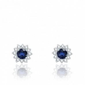 Puces d'Oreilles Saphir, Diamants & Or Blanc - Aurora