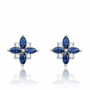 Puces d'oreilles Flora Saphir, Diamants & Or Blanc - Aurora