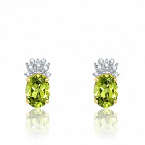 Boucles d'oreilles Or Jaune, Diamants & Péridot - Aurora