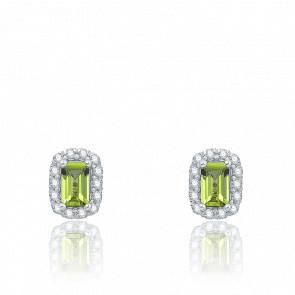 Puces d'oreilles Péridot, Or Blanc & Diamants - Aurora