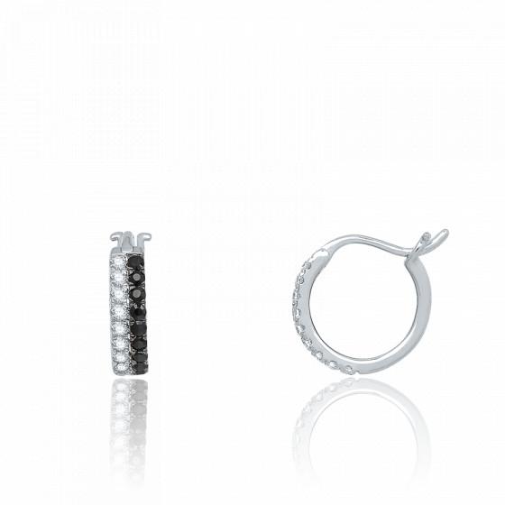 Boucles d'oreilles Créoles, Or blanc & Diamants noirs - Aurora
