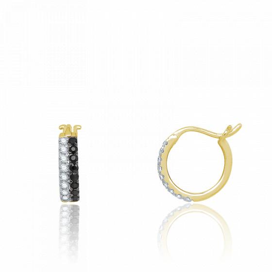 Boucles d'oreilles Créoles, Or jaune & Diamants noirs - Aurora