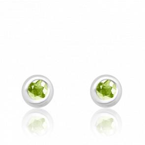 Puces d'oreilles Or blanc 18K & Péridot - Aurora