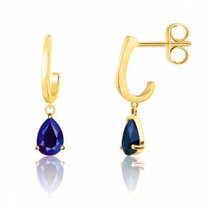 Boucles d'oreilles Pendantes, Or jaune & Saphir bleu - Aurora