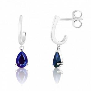 Boucles d'oreilles Pendantes, Or blanc & Saphir bleu - Aurora