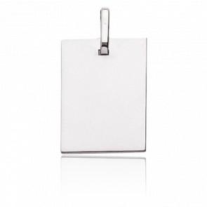 Plaque rectangle à graver, Or blanc 9 ou 18K - Emanessence